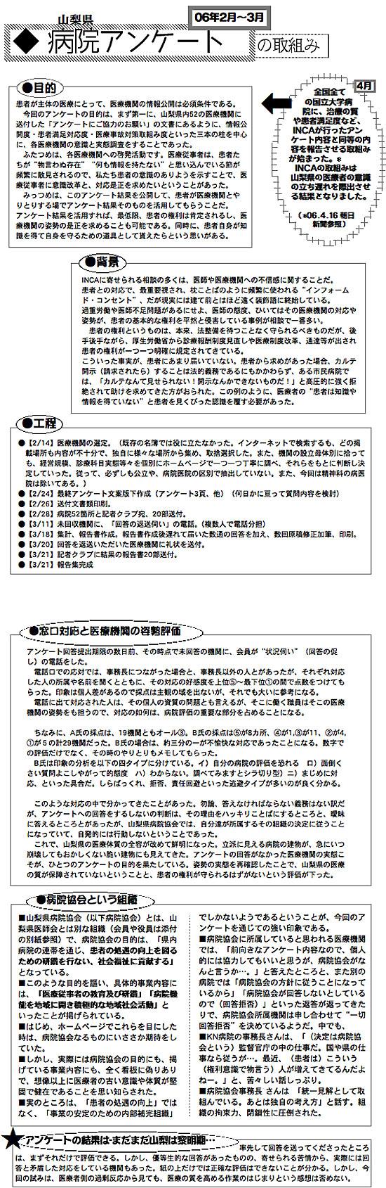 2006年病院アンケート集計の要約